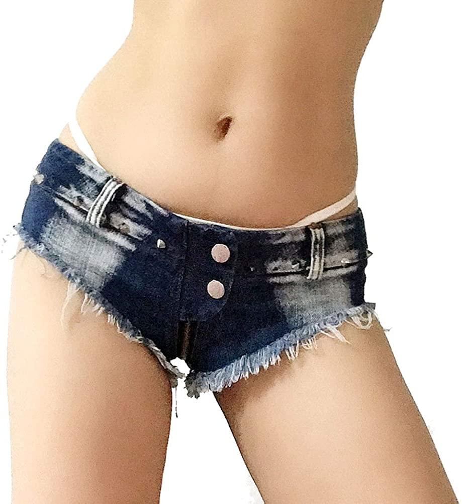 X-xyA Women's Sexy Low Rise Mini Denim Short Cheeky Zip Thong Jean Hot Pants