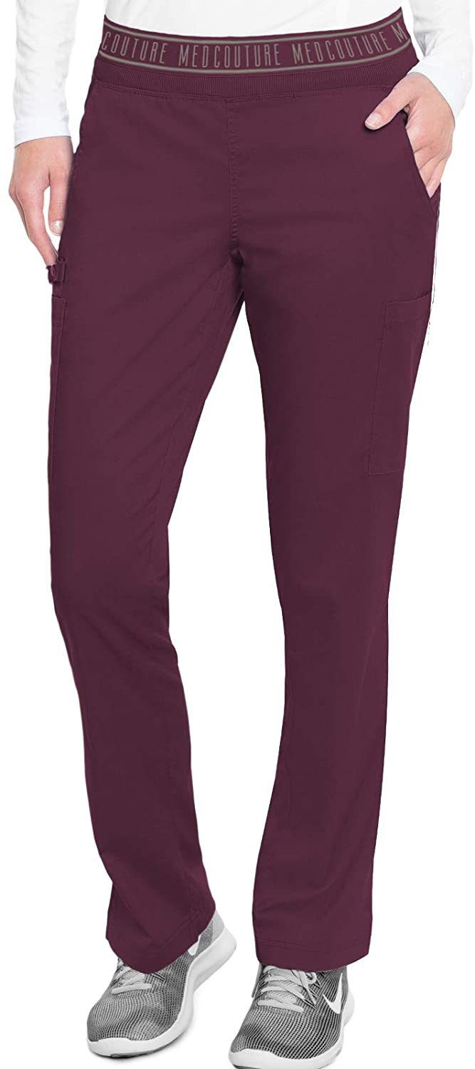 Med Couture Touch Womens Yoga 2 Cargo Pocket Pant, Wine, X-Large Tall