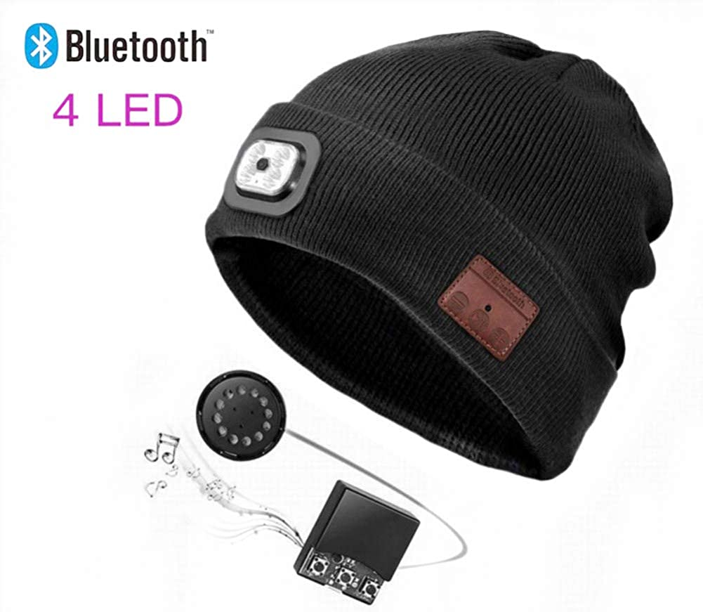 Bluetooth Beanie Hat with LED Headlight, Lighted Beanie Cap Rechargeable with Wireless Bluetooth Hands Free Head Hat Winter Warm Knit Cap with Adjustable LED Brightness