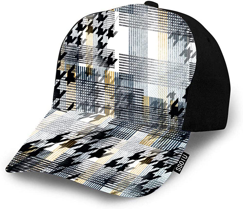 SSOIU Tartan Hat Baseball Cap for Men Women,Watercolor Stripes Houndstooth Patchwork Modern Fashion Artwork Baseball hat Unisex Adjustable Hats
