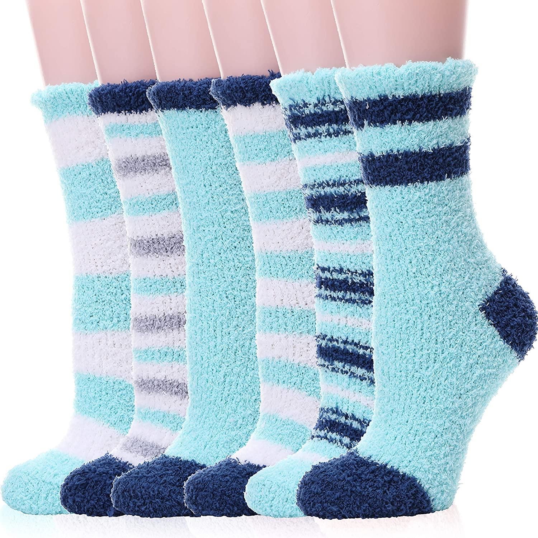 Womens Girls Fuzzy Slipper Socks Soft Fluffy Warm Cute Cozy Cabin Winter Thick Christmas Socks