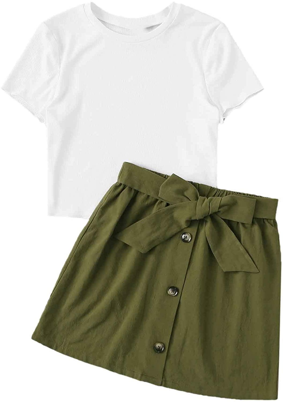 Milumia Women 2 Pcs Set Rib Knit Short Sleeve Crop Tee Top and Belted Mini Short Skirt