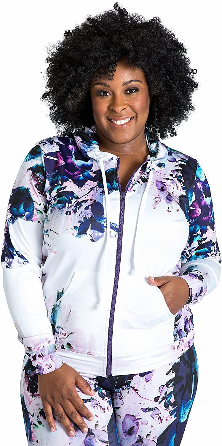 Poetic Justice Plus Size Curvy Womens Zip-Up Floral Print Poly Tricot Hoodie