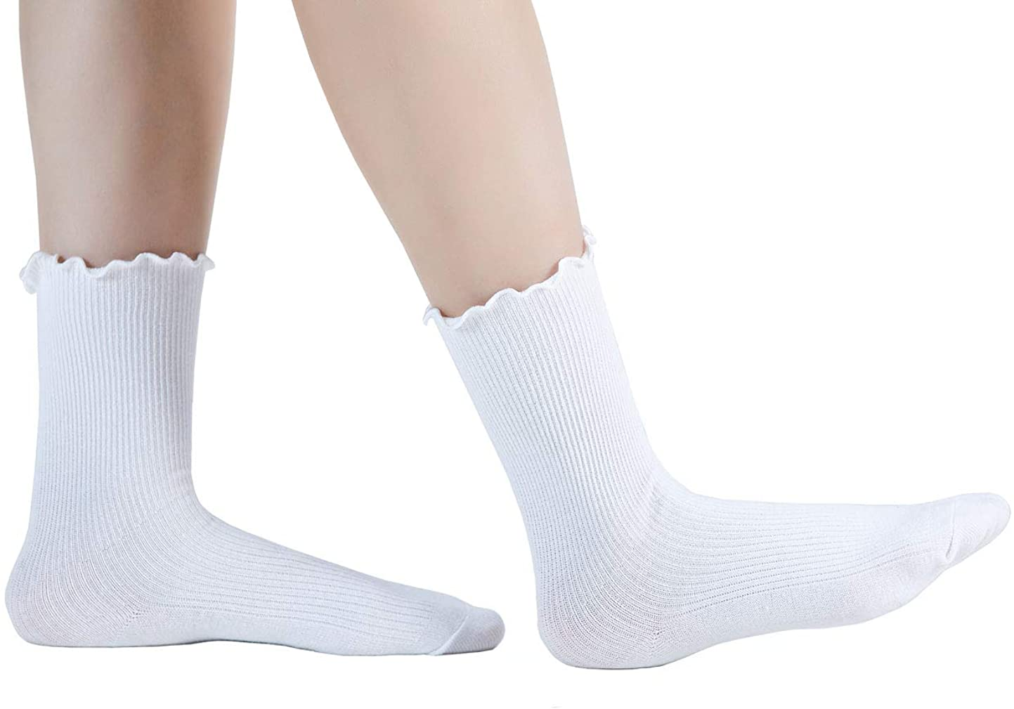 SEMOHOLLI Women Ankle Socks, Ruffle Turn-Cuff Ankle Casual Socks solid color relent socks for Women