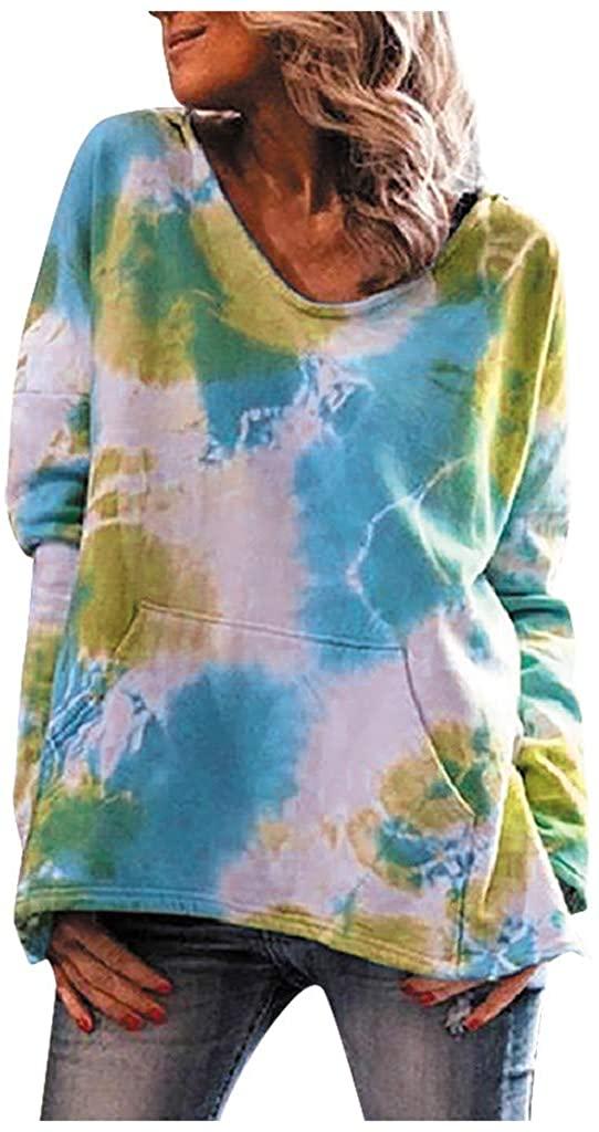 Fesfes Women's Tie Dye Pullover Hoodie with Pockets Lightweight Long Sleeve Pullover Crewneck Hooded Sweatshirts Outwear