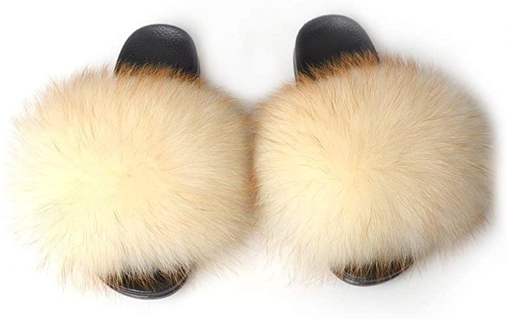 YIJIARAN Womens Luxury Real Raccoon Fur Sliders Slippers Furry Slides Fashion Flat Soles Soft Summer Slippers …
