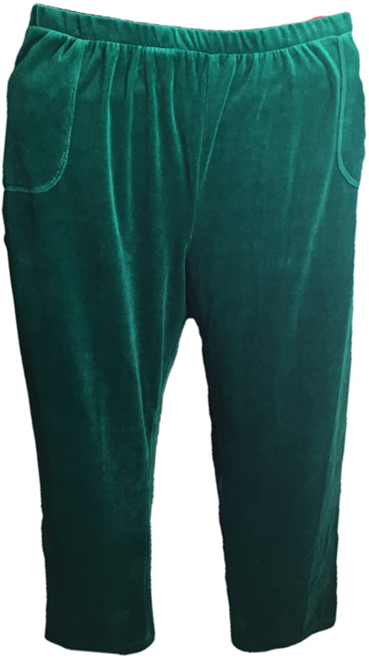 Catherines Womens Green Velour Pants with Side Patch Pockets