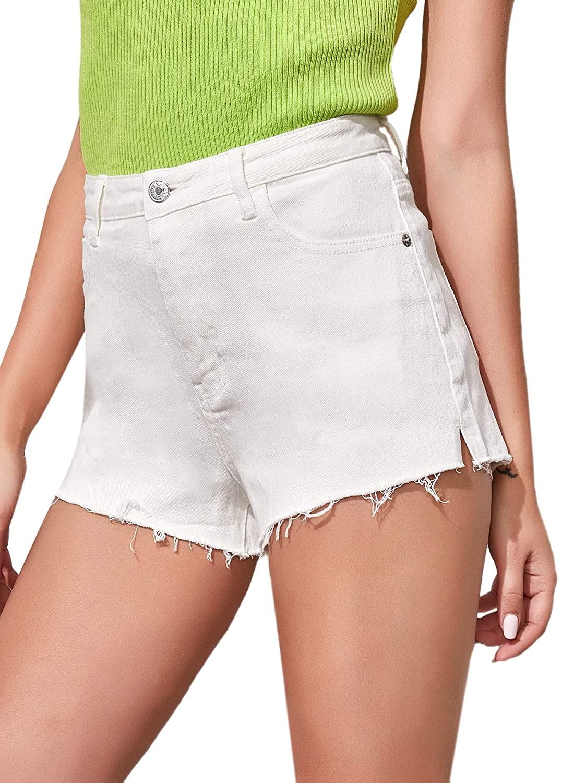 Milumia Women High Waist Split Side Raw Hem Straight Leg Denim Jean Shorts