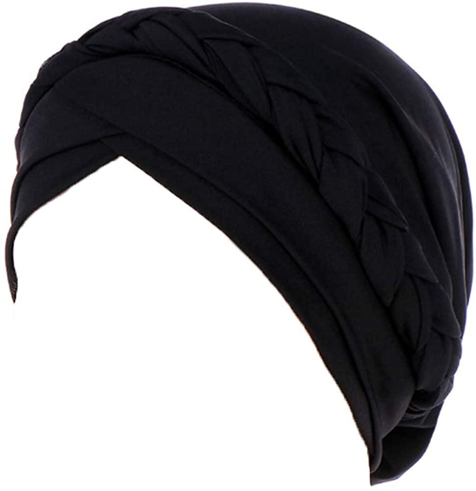 Women Solid Color Braid Turban Cotton Cancer Chemo Beanie Bandana Headwrap Cap Bonnet Head Scarf Hat