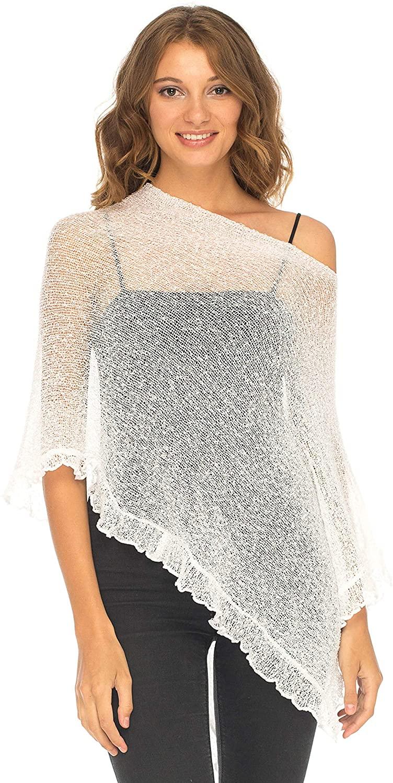 SHU-SHI Womens Sheer Poncho Shrug Lightweight Knit Ruffle Pullover Sweater Top