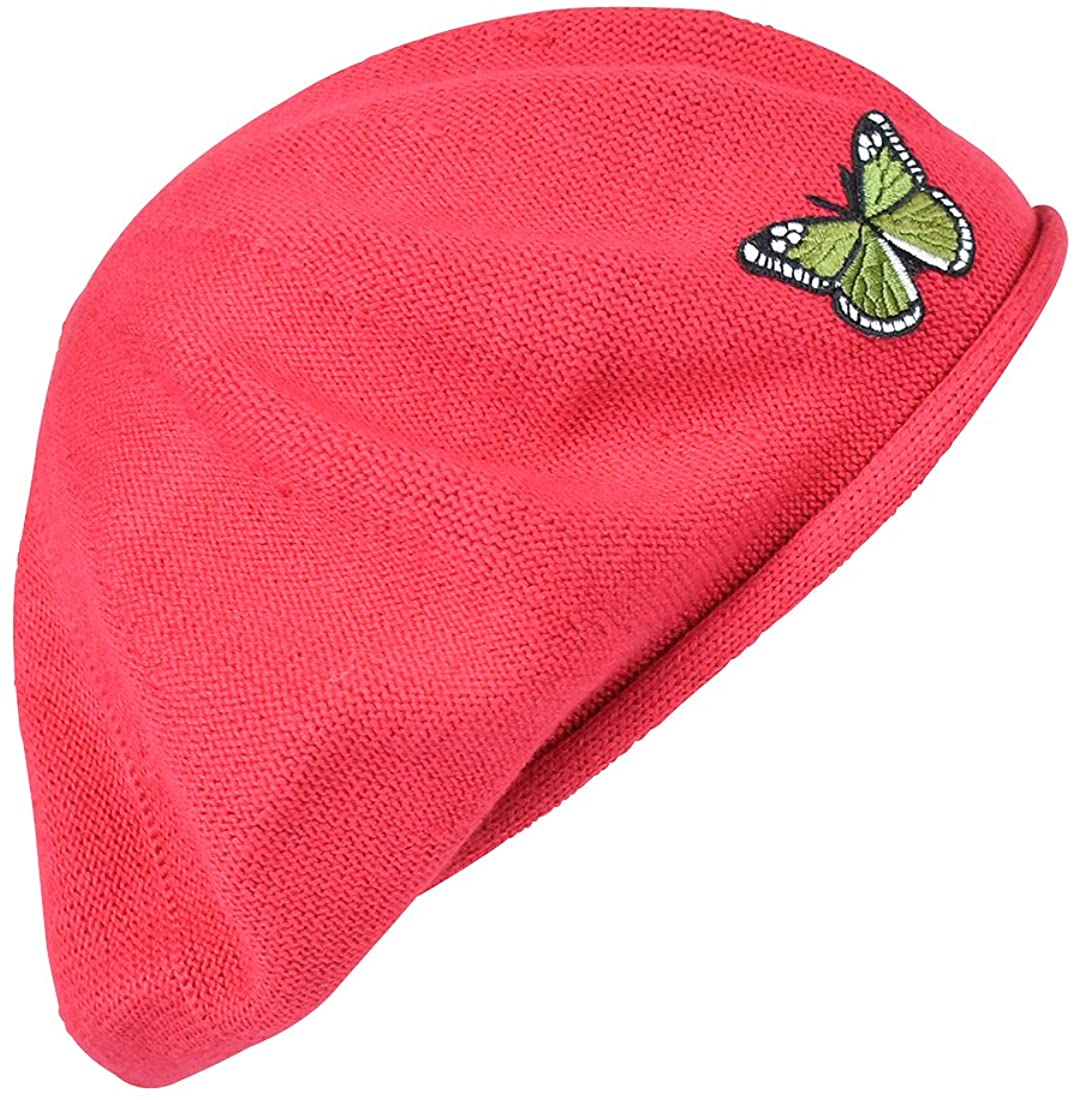 Green Butterfly on Beret for Women 100% Cotton