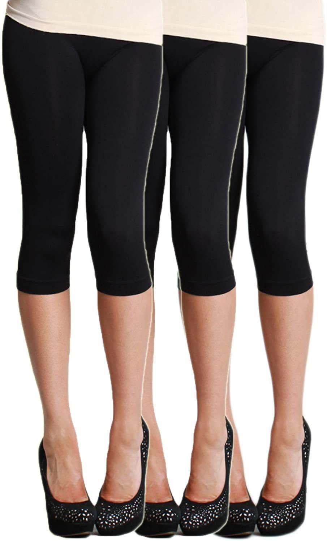 LVG Womens Solid Capri Leggings Multi Pack Made in The USA. (Black/Black/Black)
