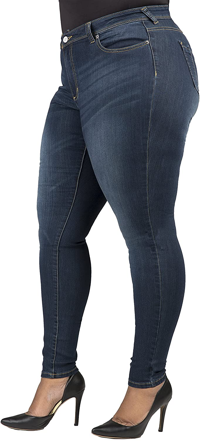 Poetic Justice Curvy Women's Plus Size Medium Whiskering Jeans 16R x 32Length Size 16R x 32Length
