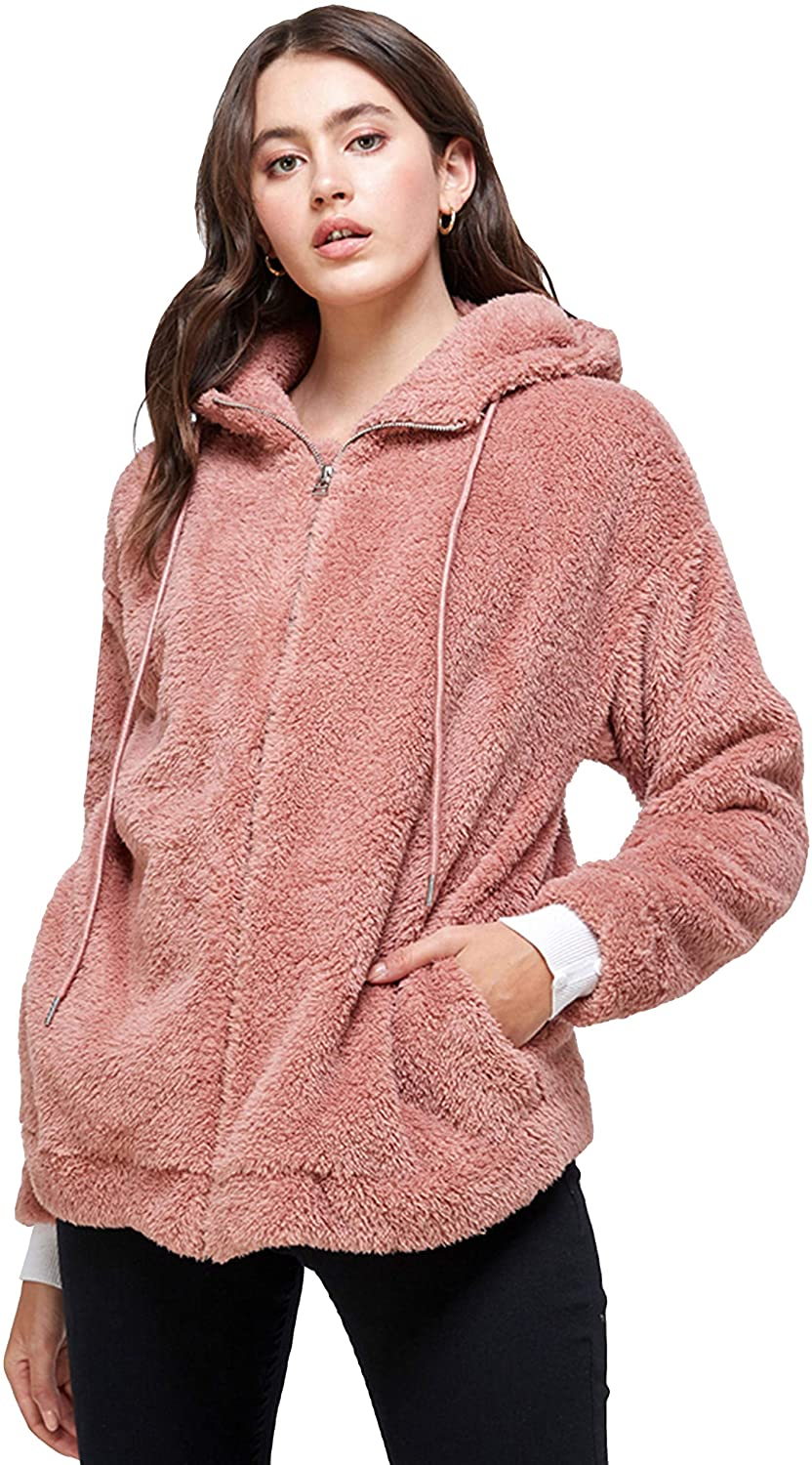 MINT PLUS PINK Women's Fashion Faux Fuzzy Fleece and Hoodie Long Sleeve Zip up Jacket Sherpa with Pocket