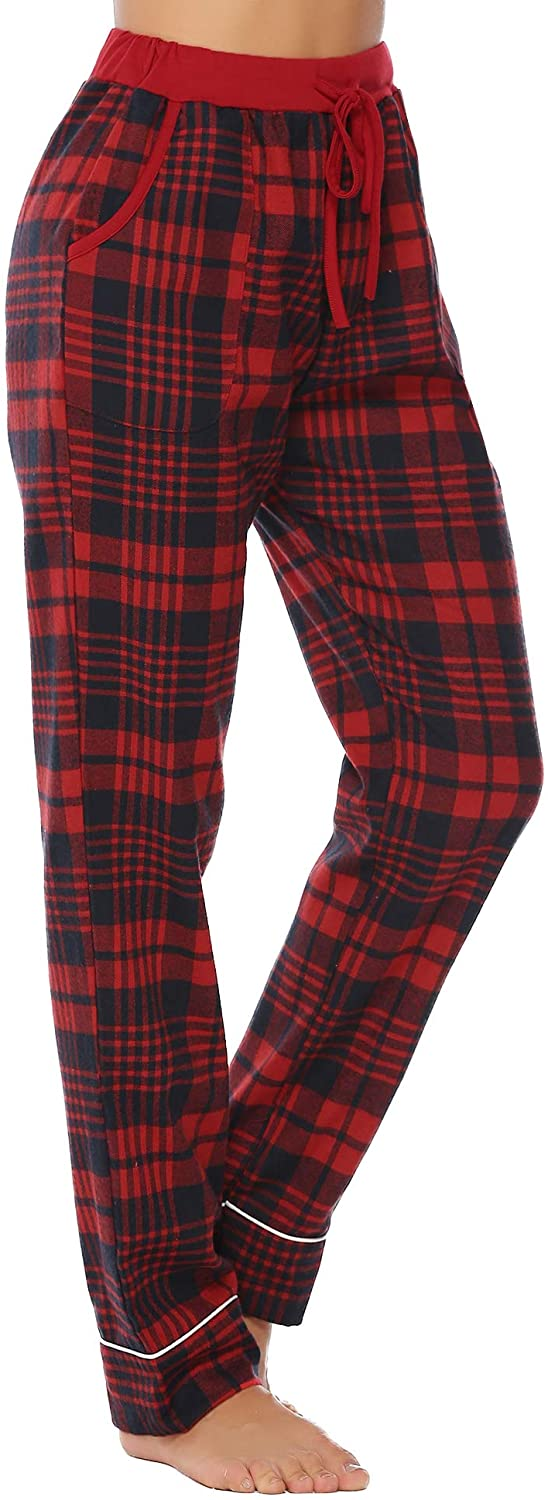 iClosam Women's Pajama Bottoms 100% Cotton Sleepwear Check PJS Lounge Pants Trousers(S-XXL) Navy Red