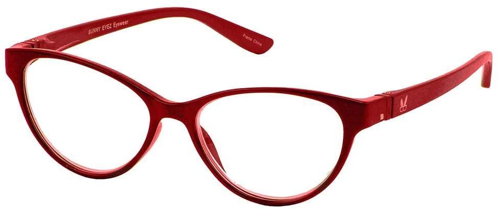 Bunny Eyez Raquel Wearable, Tilt-able, Flip-able Women's Reading Glasses - Sparkle Ruby Red (+1.00)