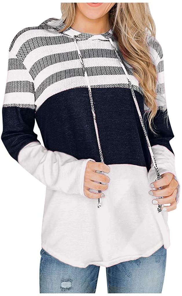 Long Sleeve Shirts for Women,Womens Long Sleeve Leopard Print Pullover Hoodie Sweatshirt Drawstring Hoodies Tops