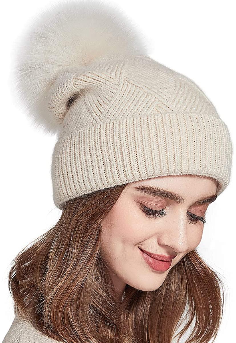 SOMALER Womens Knit Winter Beanie Hat Fur Pom Pom Cuff Warm Beanies Bobble Ski Cap