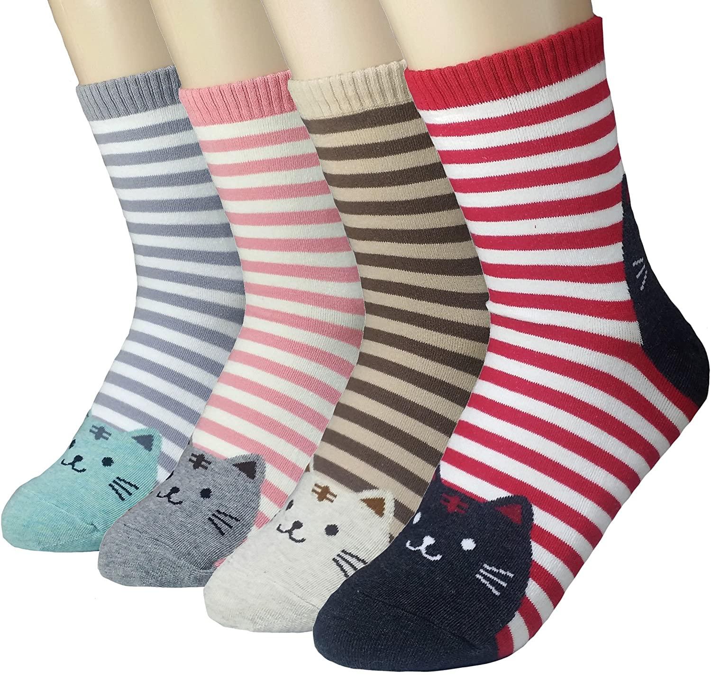 JJMax Womens Sweet Kitties Bunnies Roll Cuff High Ankle Socks Set One Size Fits All
