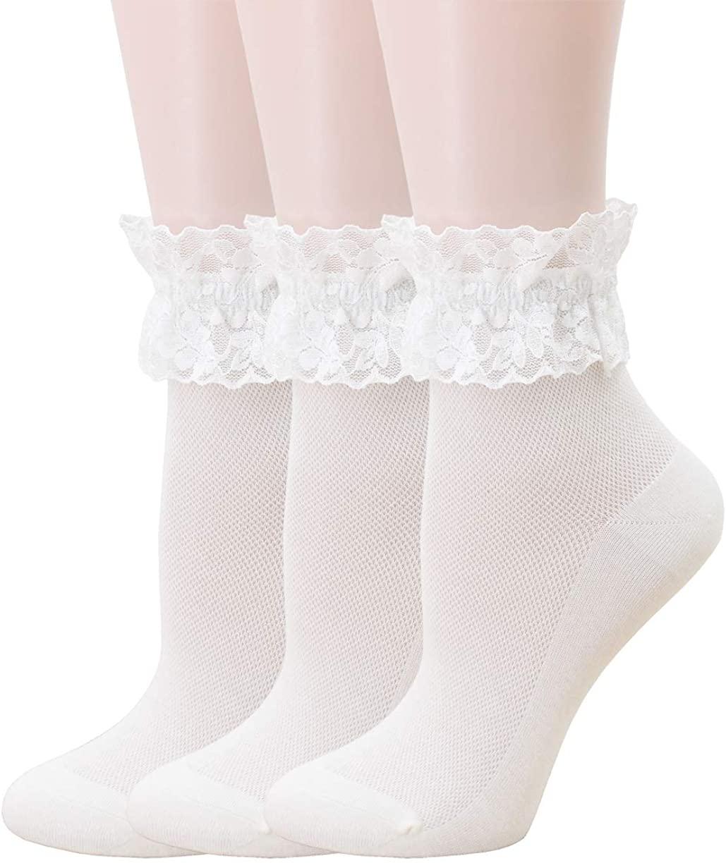 SRYL Women Thin Ankle Socks Lace Ruffle Frilly Cotton Socks Trim Lace,Anklet Socks Dress Socks Girls,s9