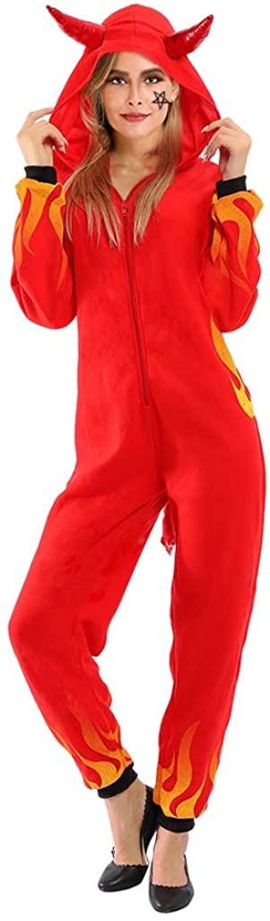 ReneeCho Women's Devil Halloween Costume Onesie Pajama Demon Jumpsuit
