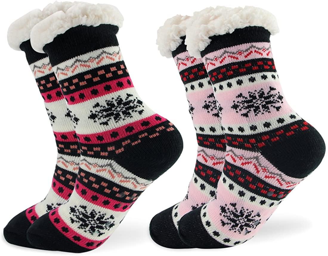Women Winter Thermal Sherpa-Lined Socks Thick Cozy Fuzzy Slipper Socks