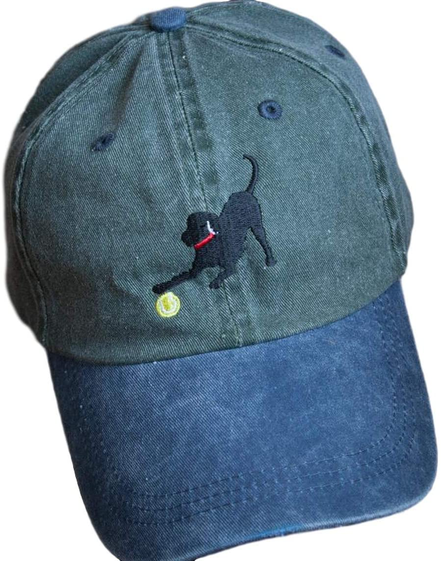 JUS LABS Olive with Blue Brim Embroidered Labrador Hats - Ball Caps for Women - Perfect Outdoor Apparel - Baseball Cap & Accessories - Hats for Men