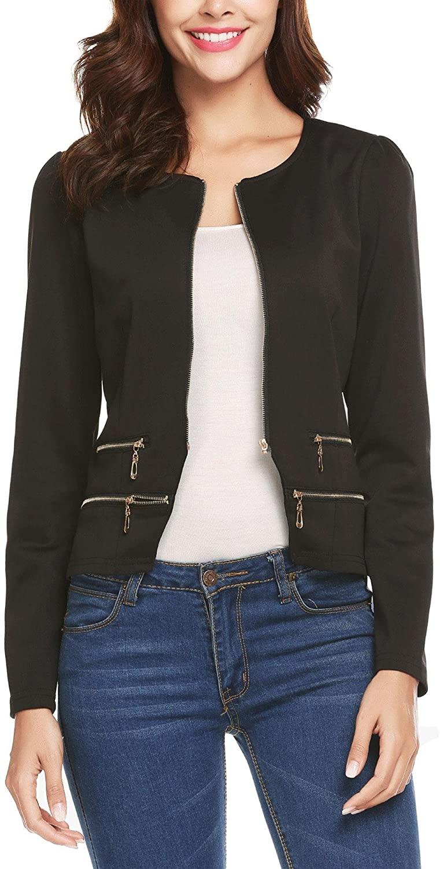 Pinspark Women's Work Office Blazer Solid Zipper Cardigan Jacket