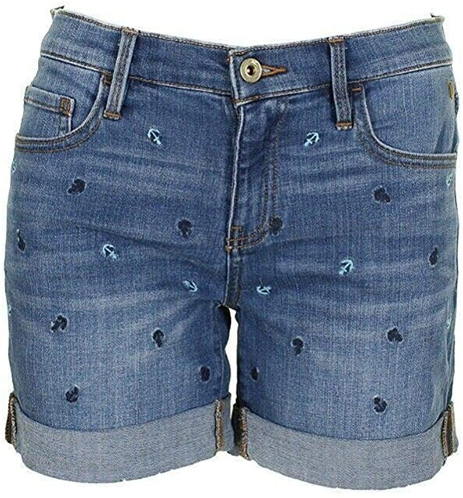 Tommy Hilfiger Womens Midi Embroidered Denim Shorts