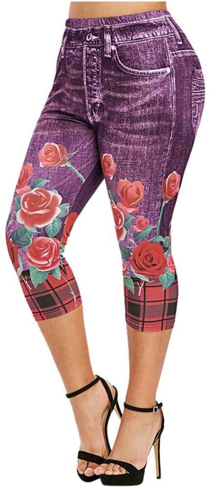 Fineday Trousers Pants, Women High Waist Denim Jeans Casual Solid Color 3D Faux Skinny Jeans, Women Trouser Plus Size (Black L)