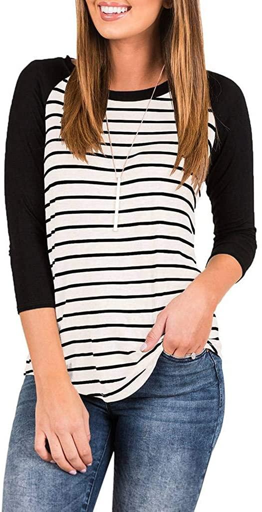 EZBELLE Women's Striped Raglan Baseball Tee Shirts Flowy Casual Long Tunic Tops Blouse