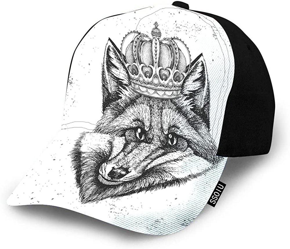 SSOIU Hipster Fox Hat Baseball Cap for Men Women,Forest Animal face Muzzle Black White Crown Grunge Baseball hat Unisex Adjustable Hats