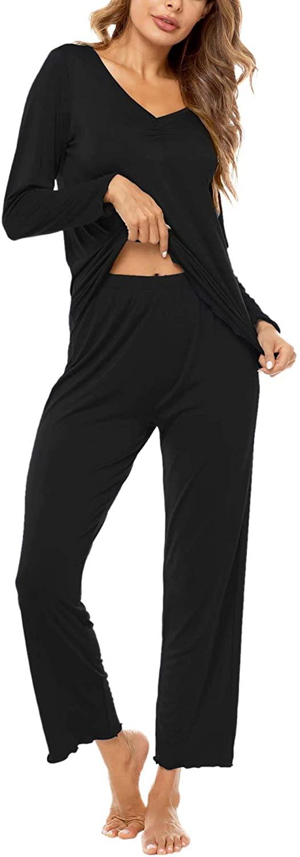 SWOMOG Women's Pajamas Set Long Sleve Sleepwear Top with Sleep Pants Soft Modal Lounge Set