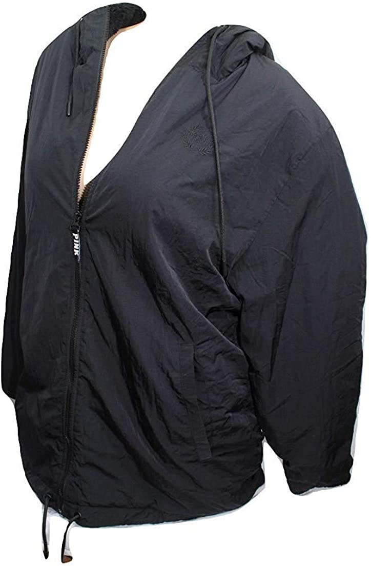 Victoria's Secret Pink Terry Lined Anorak Jacket Black XS/Small NWT