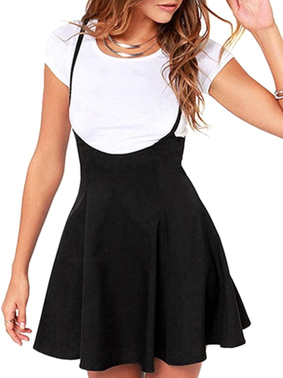 Women's Suspender Braces Casual Skirt Dress Basic High Waist Versatile Flare Skater Shoulder Straps Short Skirt