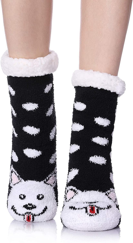 TRUEHAN Womens Winter Cartoon Animal Non-Skid Fleece Lining Knit Christmas Stockings Slipper Socks