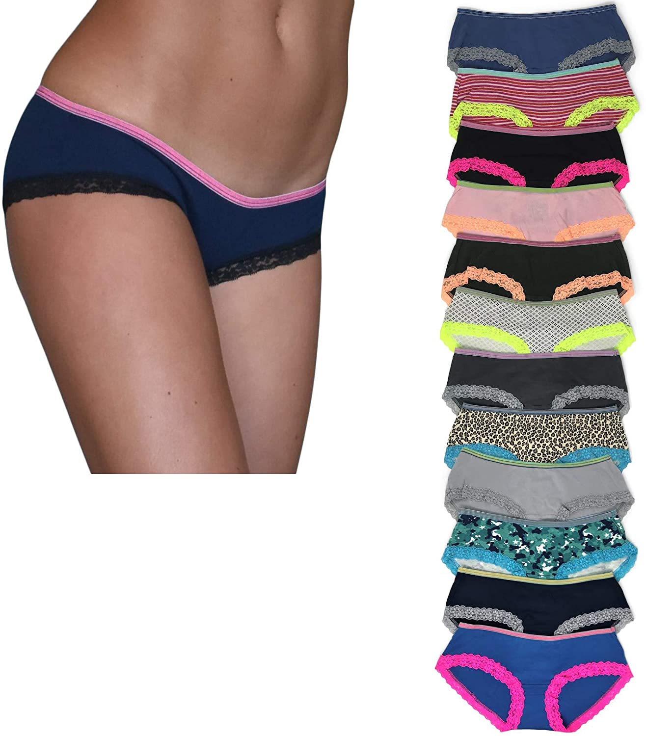 Sexy Basics Womens 12 Pack Lace Underwear Hipster Panties/Ultra-Soft 100% Cotton Underwear- 12 Pack Colors & Prints