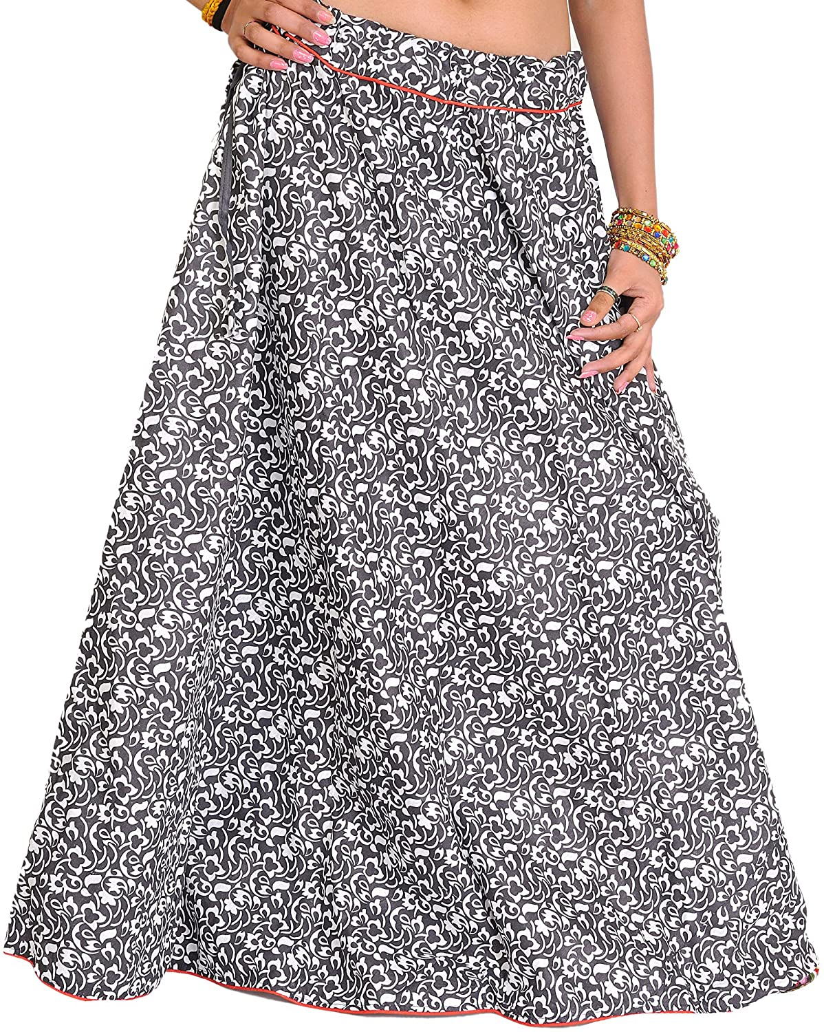 Exotic India Floral Printed Ghagra Skirt from Pilkhuwa