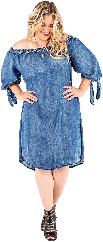 Standards & Practices Plus Size Womens Denim Tencel Off Shoulder Peasant Dress
