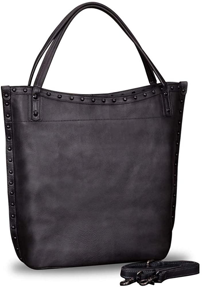 IVTG Geniune Leather Shoulder Bag for Women Vintage Handmade Top Handle Large Capacity Satchel