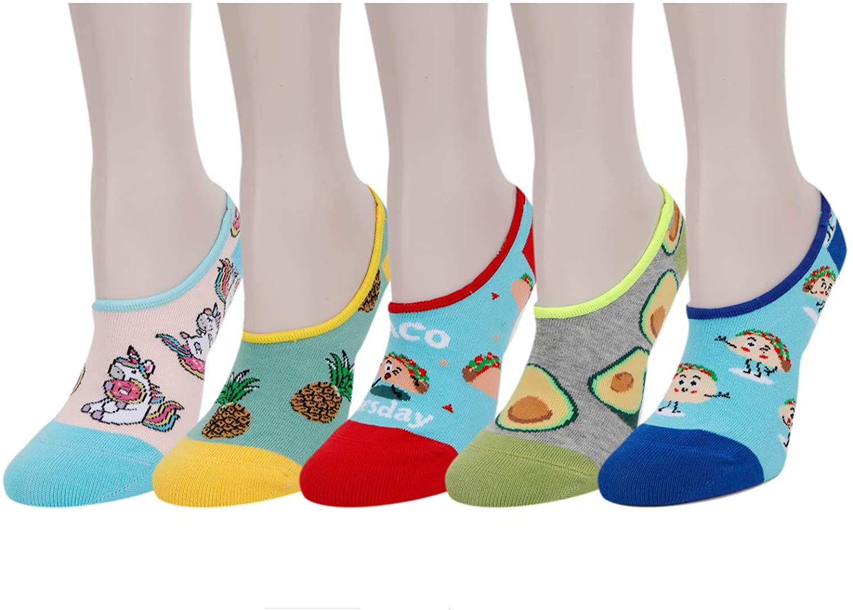 Zmart Women's 5 Pack No Show Socks Low Cut Anti-slid Flat Boat Line Gifts