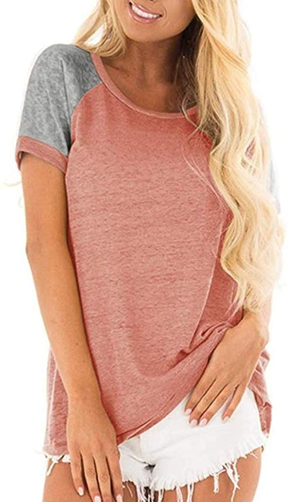 Women's Summer Short Sleeve Top, Casual Round Neck Colorblock Short Sleeve Tunic Blouse Pink