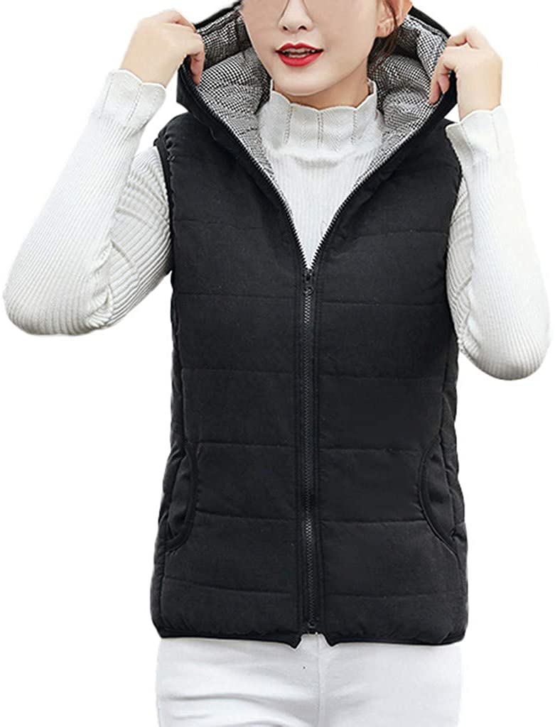 SERYU Womens Solid-Color Hooded Vest for Women in A Short Cotton-Padded Jacket
