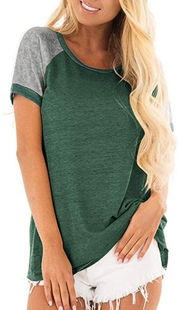 Womens Summer Short Sleeve Top, Casual Round Neck Colorblock Short Sleeve Tunic Blouse Green