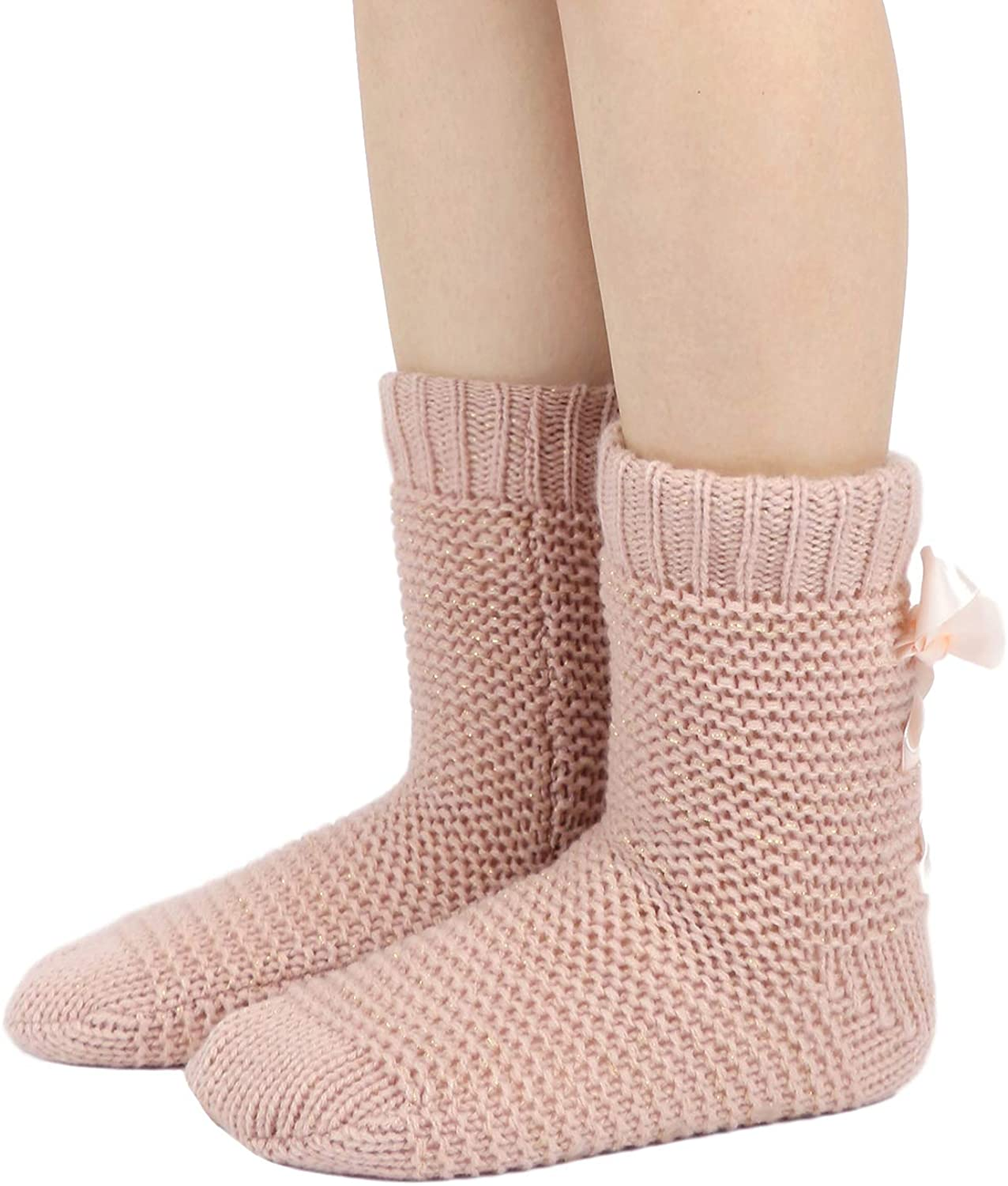 DICUIRD Womens Non-Skid Slipper Socks Long Sleeve Dual Layer Comfy Fuzzy Lined