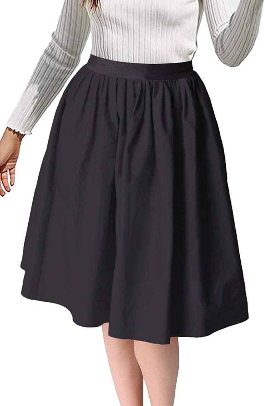 Aianger Women's Elastic Waist Midi Length Pleated A Line Swing Polka Dot Skirt