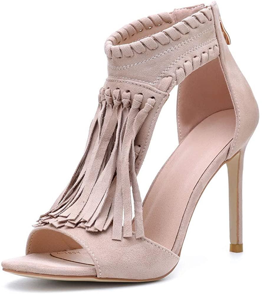 LLADYY Women's High Heels Dress Sandals Apricot Party Fashion Fringe Summer Zipper Stiletto Peep Toe Sandals