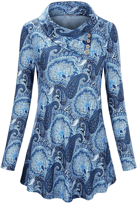 Hibelle Womens Long Sleeve Button Cowl Neck Lapel Casual Tunic Top Blouse