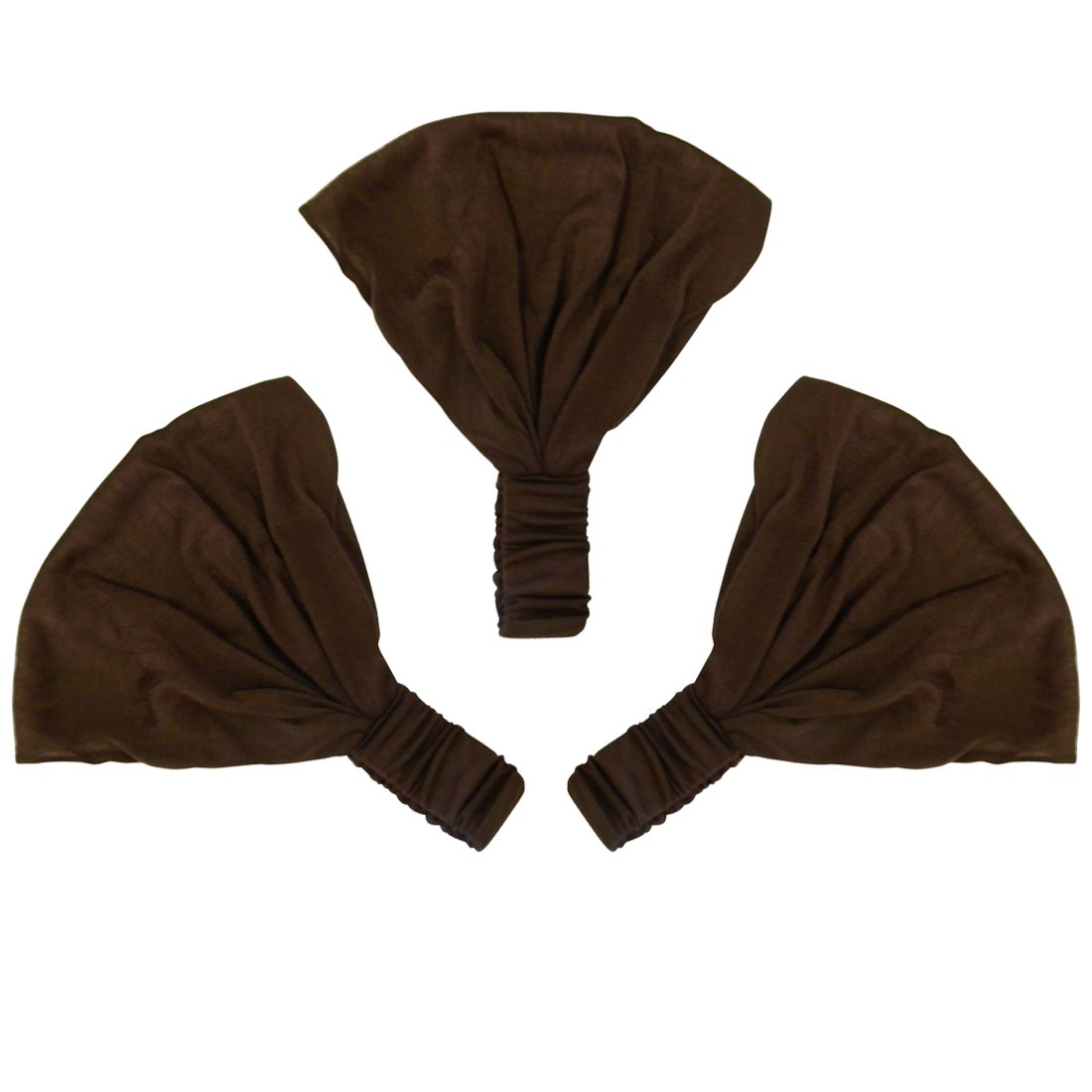 Set of 3 Wide Cotton Head Band Solid Boho Yoga Style Soft Hairbands - Brown