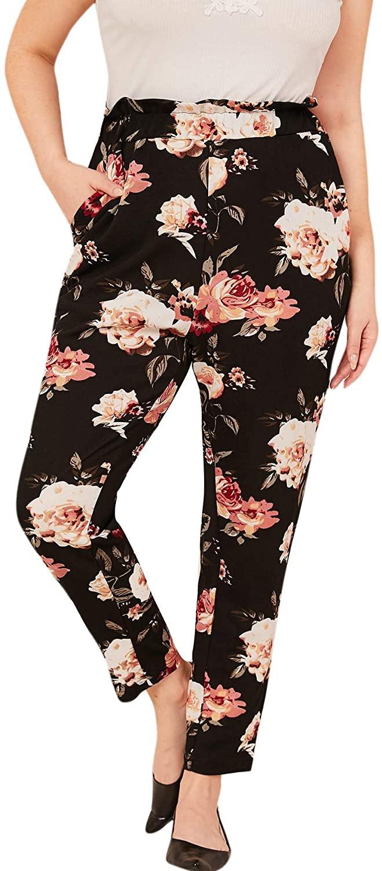 Milumia Women Plus Size Elegant Floral Print Paperbag High Waist Stretch Pants